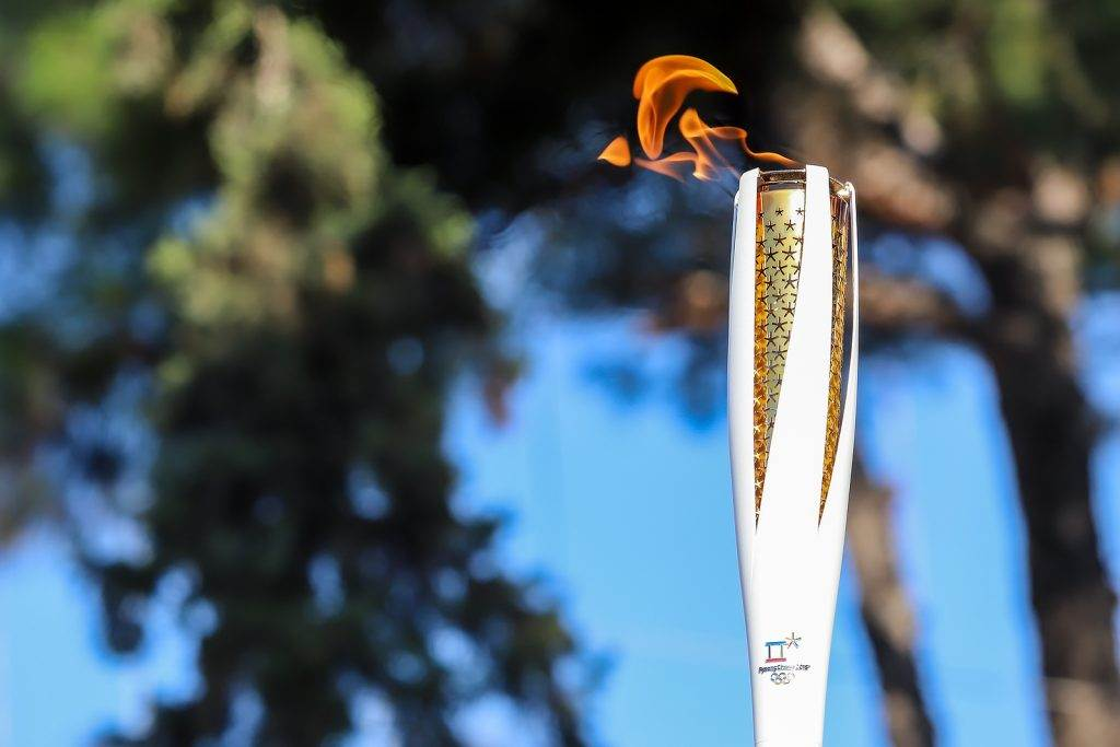 Thessaloniki Greece Oct 27 2017:Winter Olympics torch relay arrived in Thessaloniki. The flame was born in ancient Olympia will travel to North Korea in Pyongyang to end in the Olympic Stadium for the XXII Winter Olympics 2018.