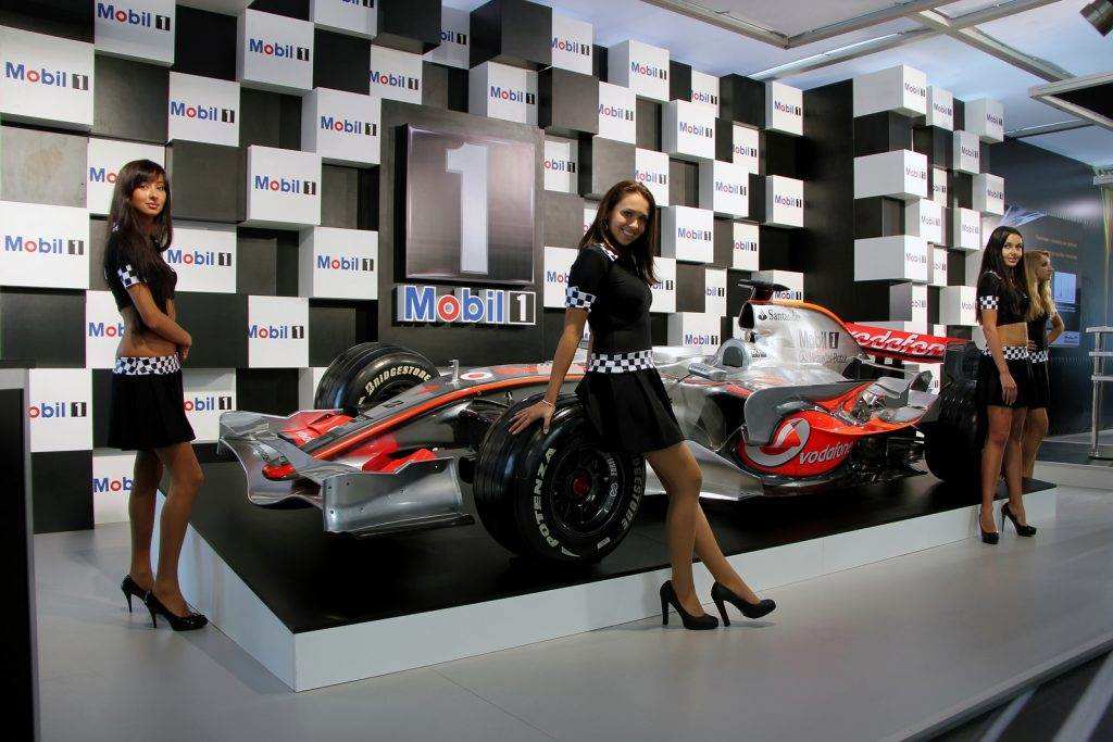 "KIEV - SEPTEMBER 10: Formula 1 bolide at yearly automotive-show ""Capital auto show 2011"". September 10 2011 in Kiev Ukraine."