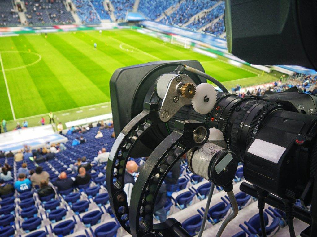 tv camera in the football stadium before the game
