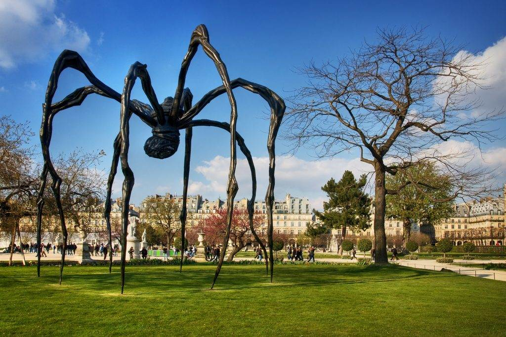 France, Paris - Spring 2008: The Maman, a gigantic spider sculpture by Louise Bourgeois, is standing outside at Grand Bassin Rond which is located near Tuileries Garden.