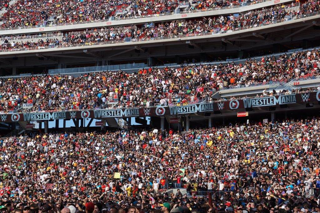 SANTA CLARA - MARCH 29: Crowd of fans in stands at Wrestlemania 31 at the Levi's Stadium in Santa Clara California on March 29 2015.
