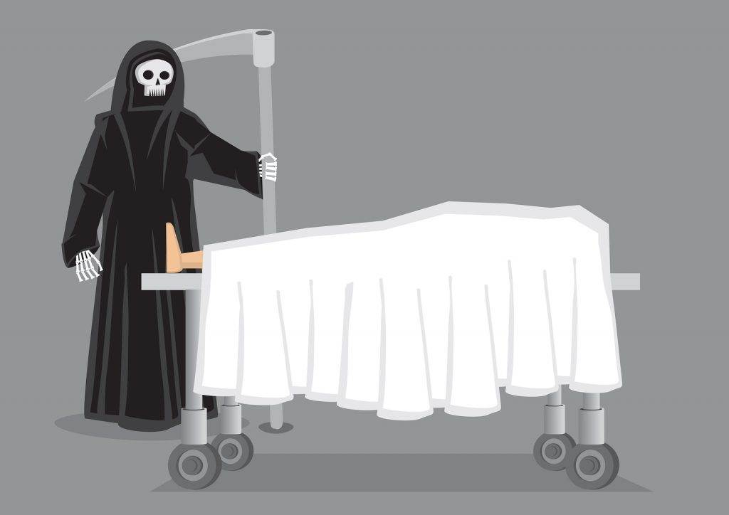 Skeletal figure in black hooded cloak carrying a scythe standing beside a corpse draped in white sheet on wheeled bed. Creative vector cartoon illustration on death concept isolated on grey background.