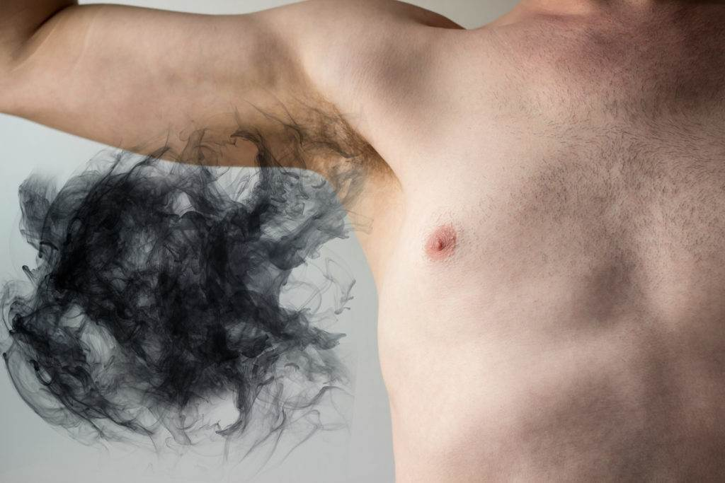 Plumes of smelly armpit body odor waft into the air