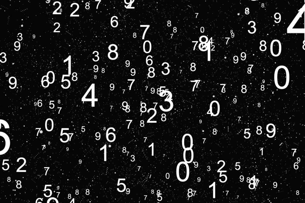 Abstract math number background. Black and white colors. Random sign flying