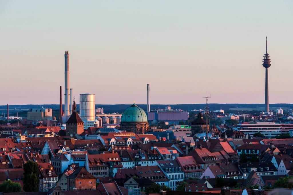 NUREMBERG GERMANY - JUNE 22 2016: Overlook from the Nuremberg Castle to the Nuremberg old town part at sunset on June 22 2016. Nuremberg is the second largest city of Bavaria.