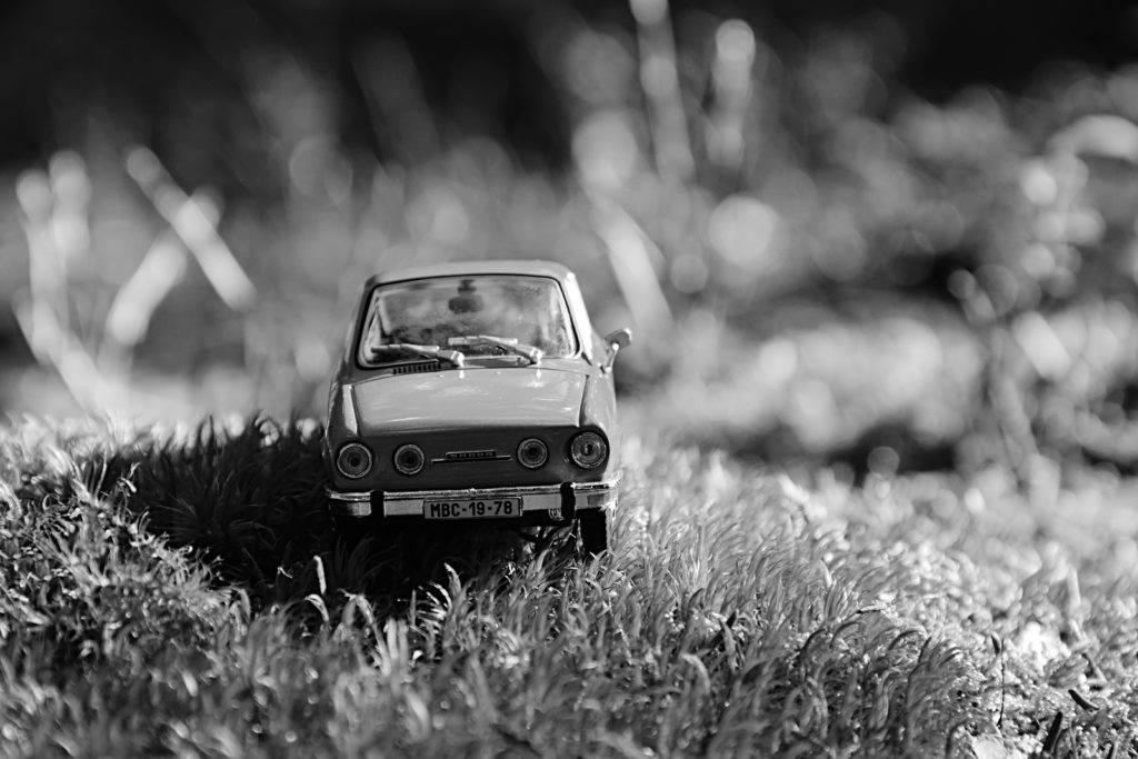 Volyne, Czech republic - August 11, 2018: model of legendary czechoslovak car Skoda 110R named Erko from year 1980 stand in forest near Volyne city during summer holiday evening