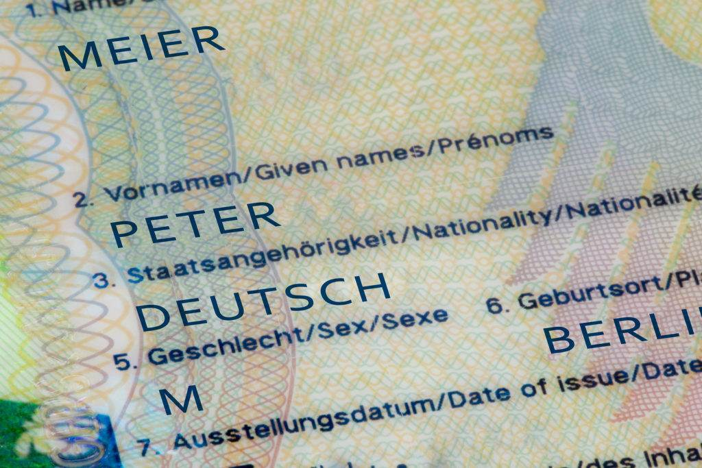 ShanghaiChina 25/09/2016 Closeup of the inside of a german passport with one of the most common generic names