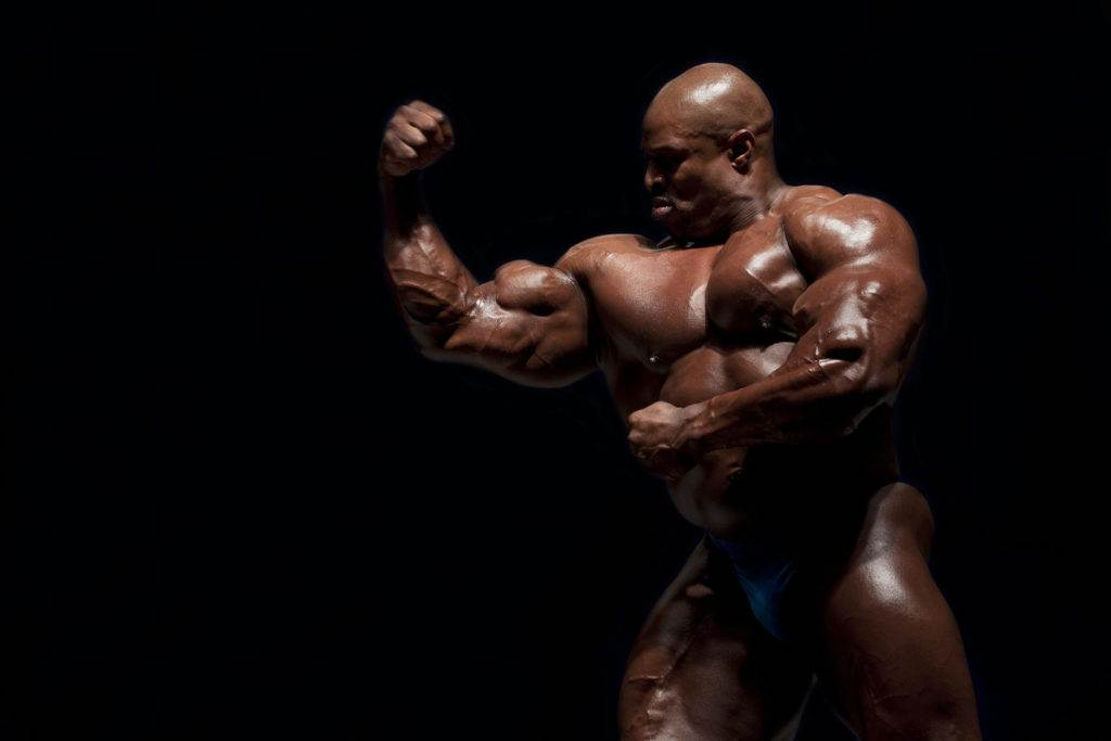 SOFIA BULGARIA - APRIL 25: Mr. Olympia 2007 - Ronnie Coleman Guest Posing in Winter Sports Palace State Championship in Bodybuilding on April 25 2010 in Sofia Bulgaria.