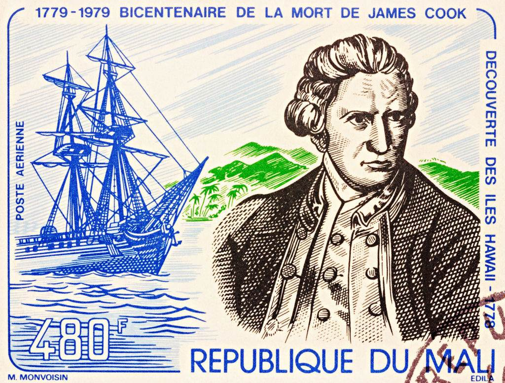 "MOSCOW RUSSIA - NOVEMBER 08 2016: A stamp printed in Mali shows Captain James Cook and his ship ""Resolution"" series ""The 200th Anniversary of the Death of Captain James Cook"" circa 1979"