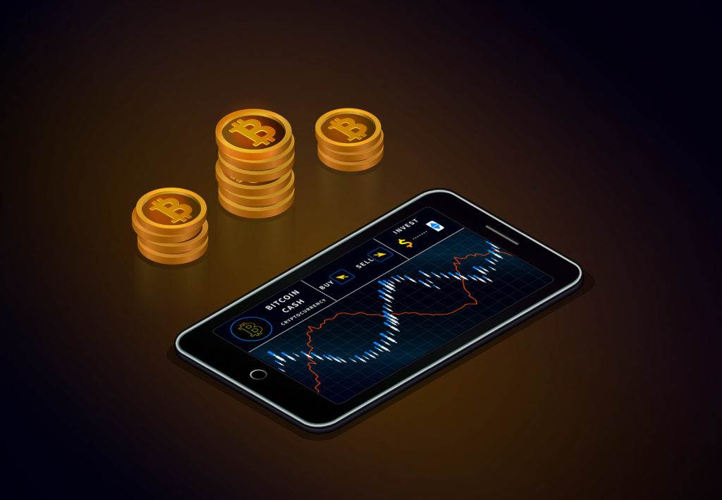 Cryptocurrency stock market online. Smartphone with bitcoin cash chart on screen and piles of gold bitcoin cash coins.  Trading  exchange of crypto currency.  Internet E-commerce. Vector.