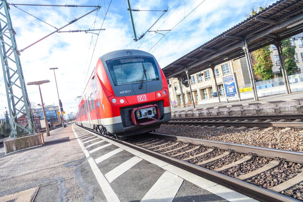 FUERTH / GERMANY - MARCH 11, 2018: RE Regional Express train from Deutsche Bahn passes train station fuerth in germany.