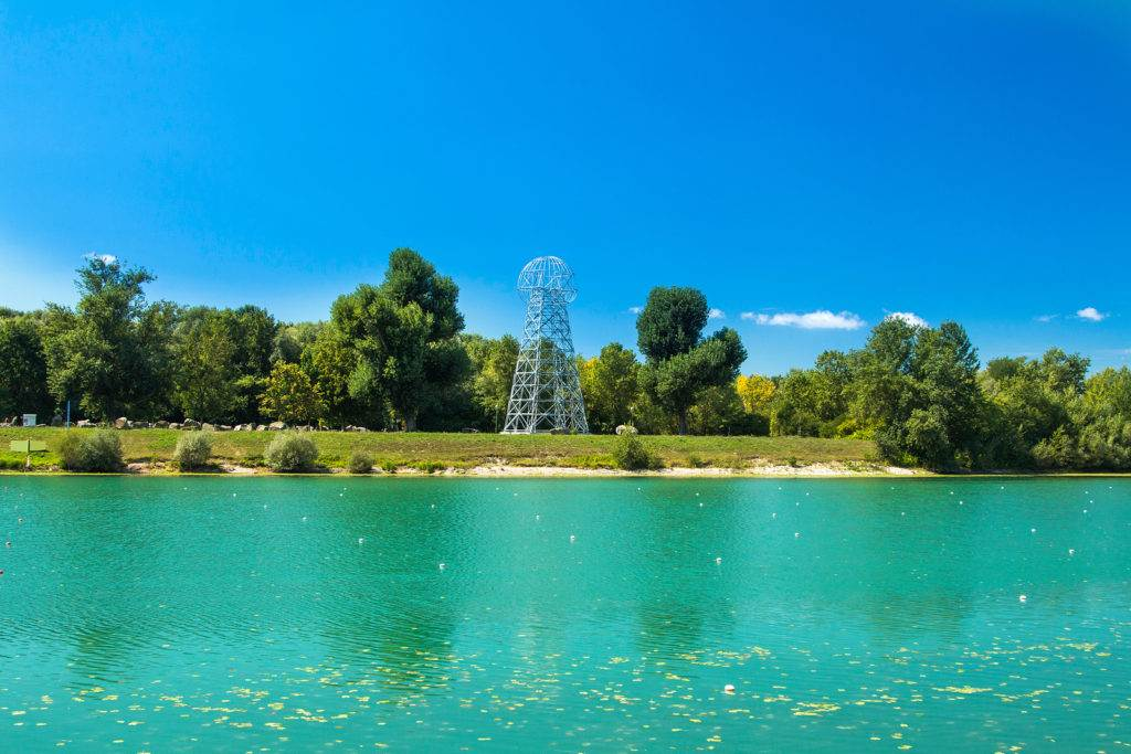 Tesla tower on Jarun lake in Zagreb, Croatia, summer day