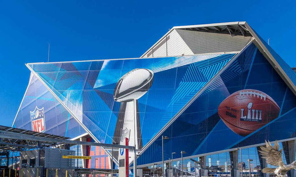 ATLANTA, GEORGIA - January 21, 2019: Superbowl LIII will be played at Atlantas Mercedes-Benz Stadium on Sunday, February 3, 2019 against the New England Patriots and the Los Angeles Rams.