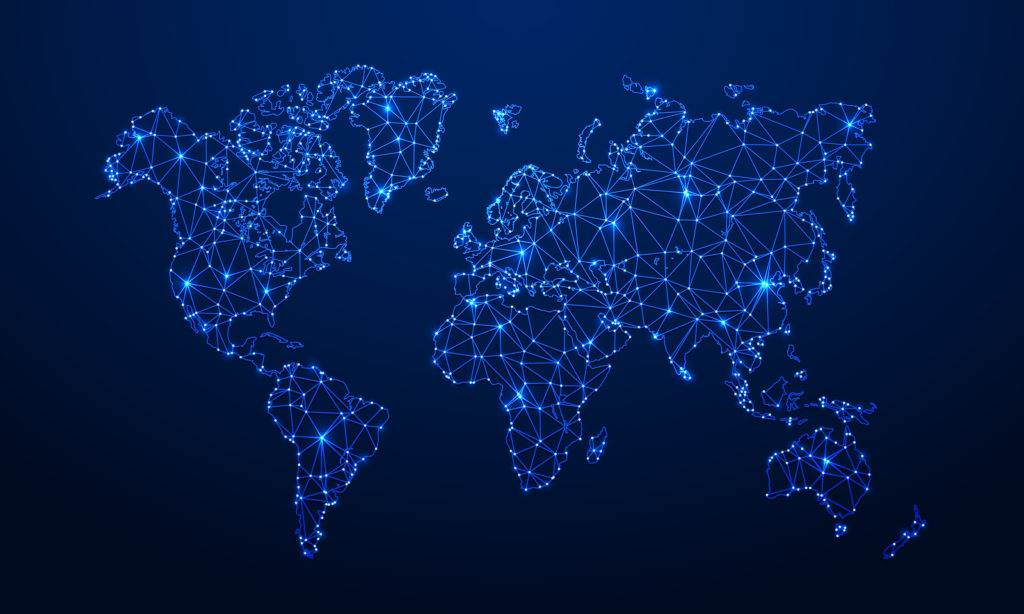Polygonal map. Digital globe map, blue polygons earth maps and world internet connection 3d grid vector concept illustration