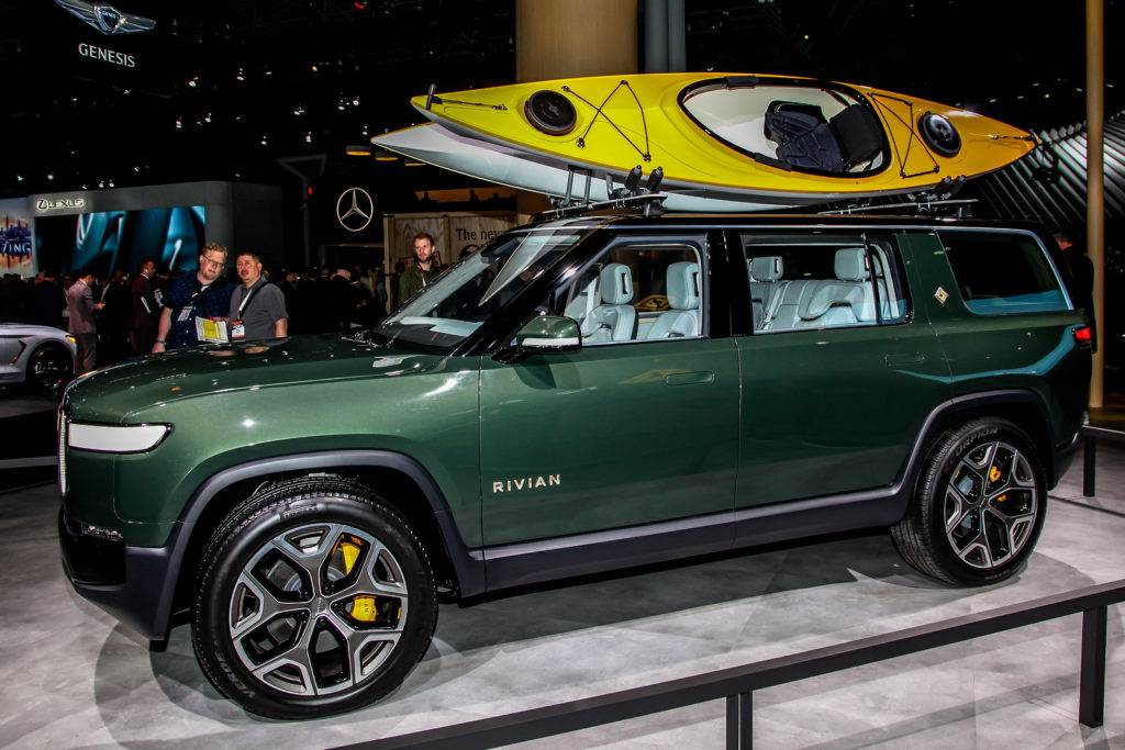 Rivian is new electric vehicle shown at the New York Internation