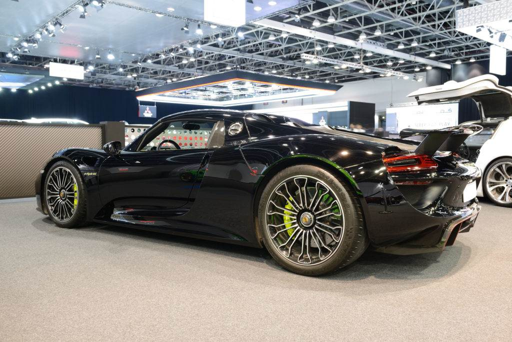Porsche 918 Spyder sportscar is on Dubai Motor Show 2019